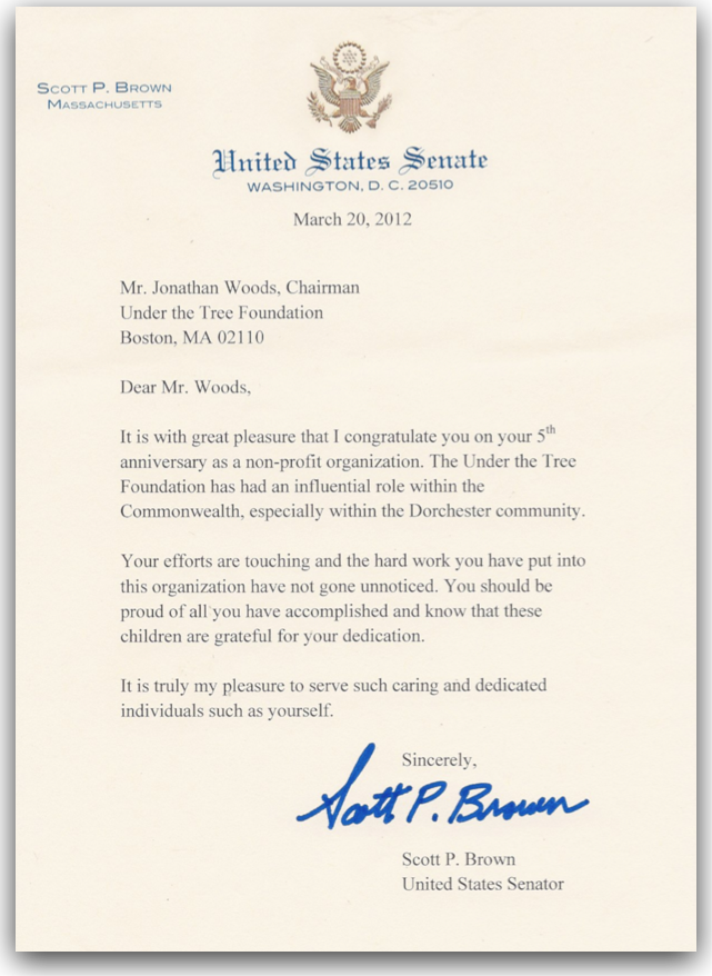Letter Of Congratulations From Senator Scott Brown